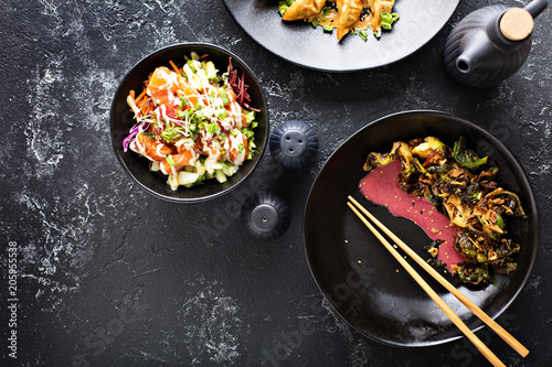 Asian cuisine dishes on the table overhead view Wallpaper Mural