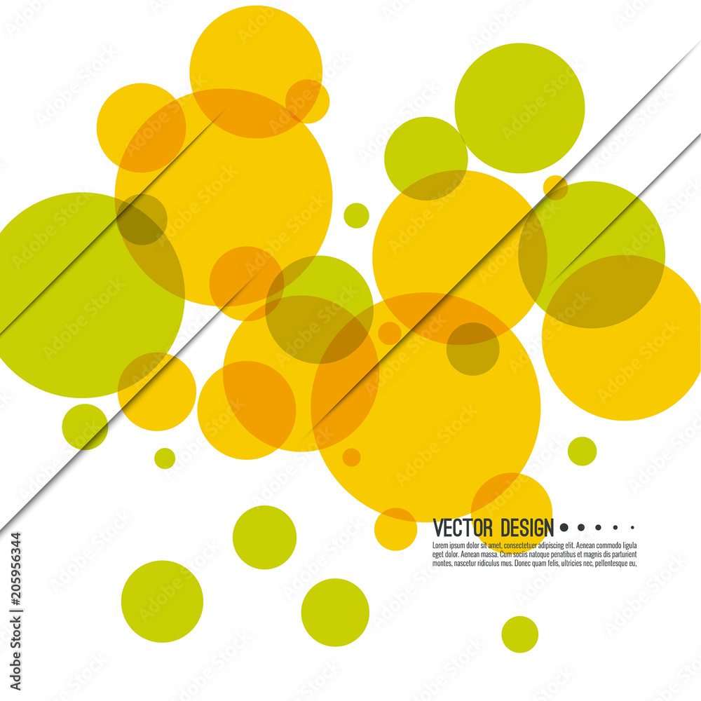 Abstract colored background with circles and dynamic diagonal lines. Vector illustration.