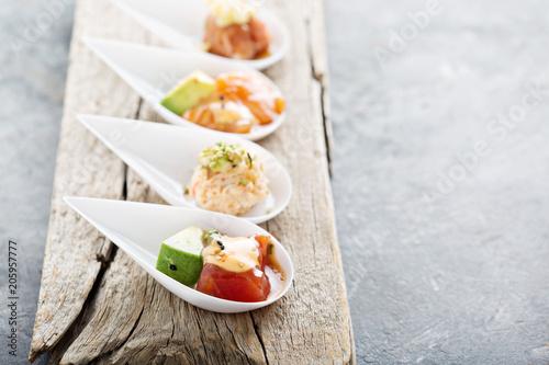 Sushi bite sized appetizers Fotobehang