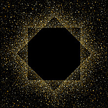 Octagon Golden Frame. Gold Polygonal Border Made Of Tiny Uneven Round Dots, Blobs. Splash Or Glittering Spangles Luxury Art Deco Frame With Empty Center For Text.  Abstract Background, Two Squares.