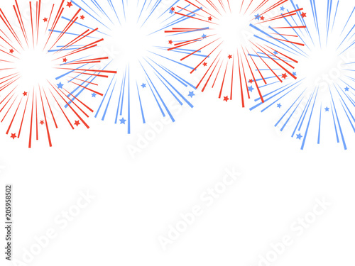 Red and blue exploding fireworks with stars. Vector Wallpaper Mural