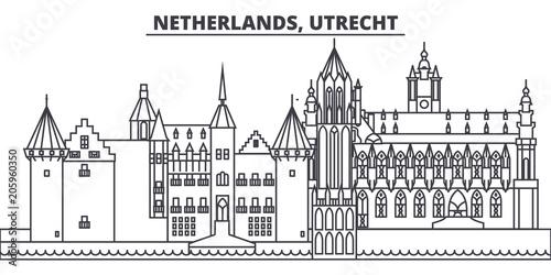 Foto op Plexiglas Antwerpen Netherlands, Utrecht line skyline vector illustration. Netherlands, Utrecht linear cityscape with famous landmarks, city sights, vector design landscape.