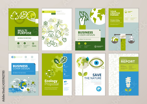 Fotografiet  Set of brochure and annual report cover design templates of nature, green technology, renewable energy, sustainable development, environment