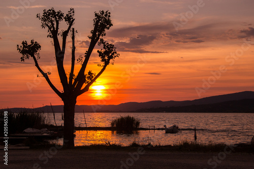 Poster Bordeaux Scenery lake landscape with blue sky and sunset