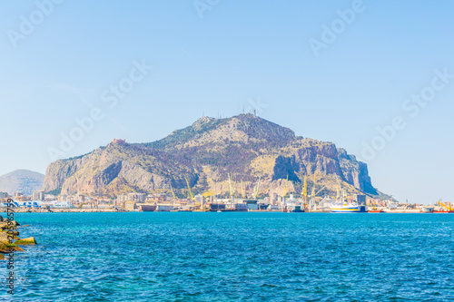 Canvas Prints Cappuccino View of seaside of the sicilian city Palermo, Italy