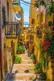 Fototapeta Uliczki - View of a narrow street in Taormina, Sicily, Italy