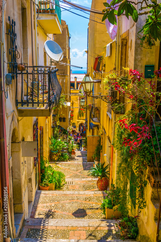View of a narrow street in Taormina, Sicily, Italy Fototapete
