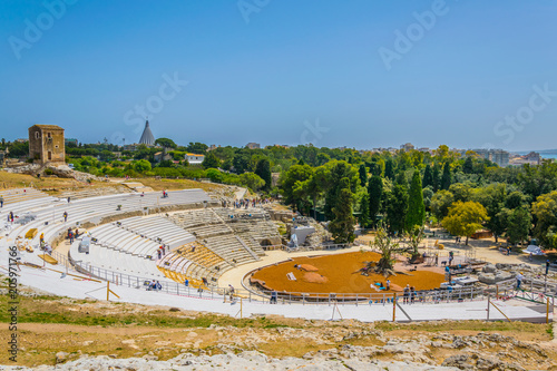 Foto op Plexiglas Kiev Ruins of the Greek theatre in Syracuse, Sicily, Italy
