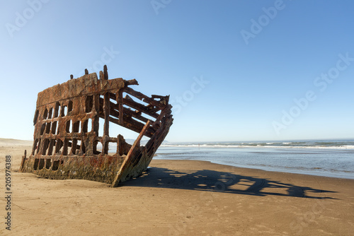 Photo Stands Shipwreck Skeletal Remains of the Peter Iredale in Fort Stevens State Park in Warrenton, Oregon