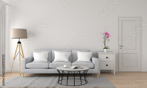 Valokuva  grey sofa and lamp in white living room, 3D rendering