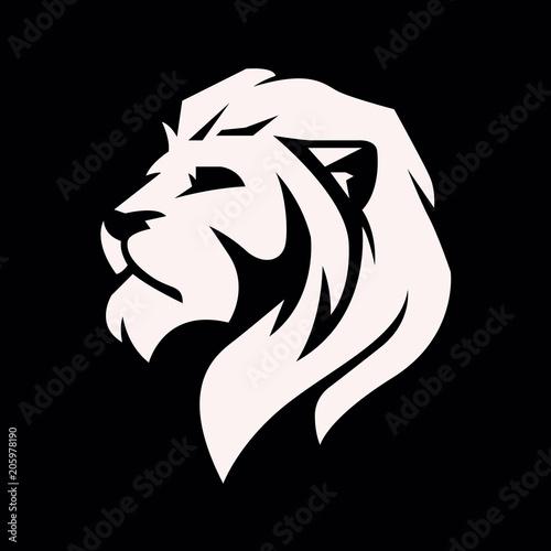 Lion head logo - vector illustration