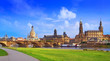 canvas print picture - Dresden skyline and Elbe river in Saxony Germany