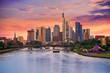 Frankfurt skyline at sunset in Germany