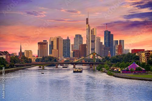 Poster Chicago Frankfurt skyline at sunset in Germany
