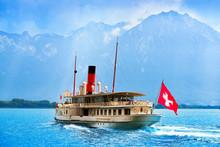 Geneve Lake Leman Steamer Ship...