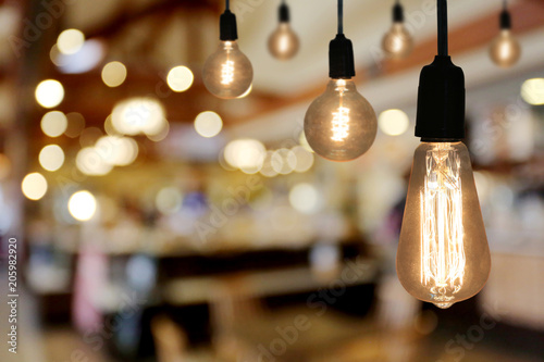 Obraz Vintage Lighting lamp in the restaurant cafe. - fototapety do salonu