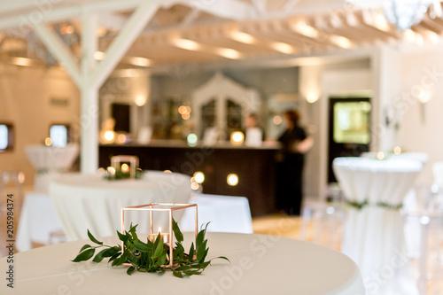 Shot Of Wedding Reception Dinner Table Decoration Kaufen Sie