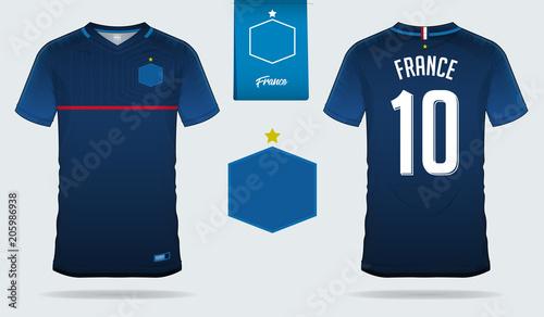 Set Of Soccer Jersey Or Football Kit Template Design For France National Team Front