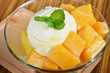 Ice cream scoop with fresh mango in a glass dish.