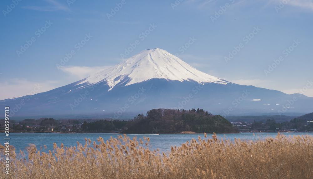 Photo  Vue panoramique sur le Mont Fuji depuis un lac