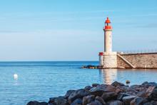 Ancient Lighthouse In Bastia, Corsica, France. Beautiful Sea Landscape