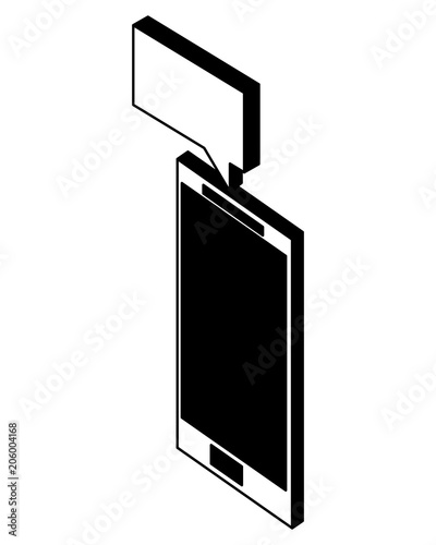 smartphone message notification app isometric vector