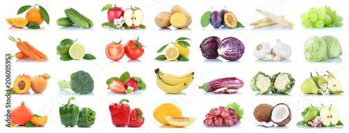 Foto auf Gartenposter Frischgemüse Obst und Gemüse Früchte viele Apfel Tomaten Orangen Salat Zitrone Farben Freisteller freigestellt isoliert