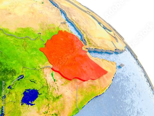 Printed kitchen splashbacks Ethiopia in red model of Earth