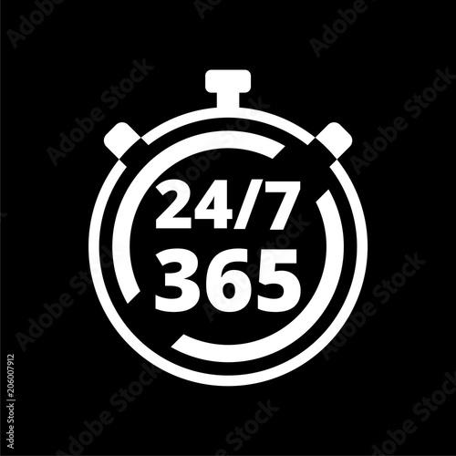 Fényképezés  Open 24/7 - 365, 24/7 365, 24/7 365 icon on dark background