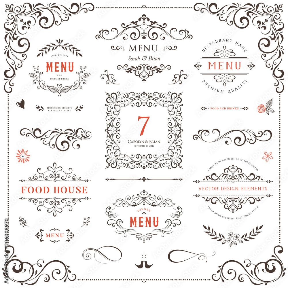 Fototapeta Ornate design elements set. Table numbers, wedding and restaurant menu templates. Vector flourishes, scrolls, frames.