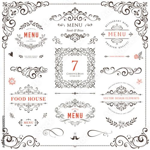 Fototapeta Ornate design elements set. Table numbers, wedding and restaurant menu templates. Vector flourishes, scrolls, frames. obraz