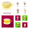 Mocha, macchiato, frappe, take coffee.Different types of coffee set collection icons in cartoon,flat style vector symbol stock illustration web.