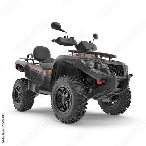 ATV Four Wheeler Bike on white. 3D illustration