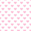 Pink hearts on the white background. Geometric seamless vector pattern.For decoration, printing,web design,cover.
