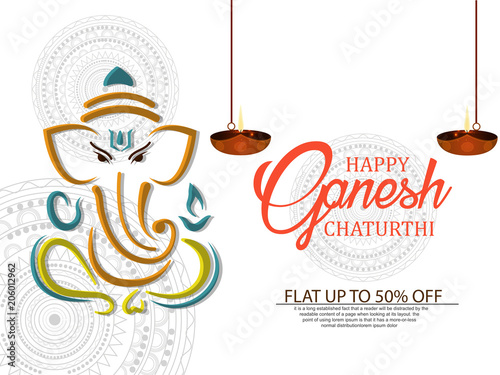 Photo  Creative vector illustration of Lord Ganesha in paint style with message Shri Ga