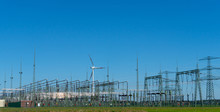 Industrial Landscape With Electrical Substation And Pin Wheel