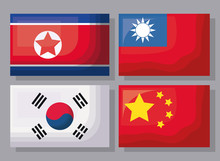 Icon Set Of Asian Flags Over G...
