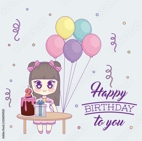Photo  Happy birthday design with kawaii anime girl with table with cakes and gift boxes over background, colorful design
