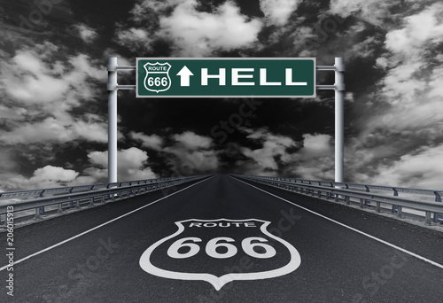 фотография Highway with a text Hell on the road sign. Road to Hell
