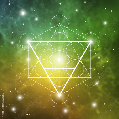 Earth Element Symbol Inside Metatron Cube And Flower Of Life In