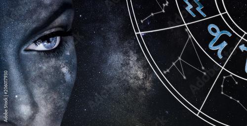 Capricorn Horoscope Sign. Astrology women night sky background