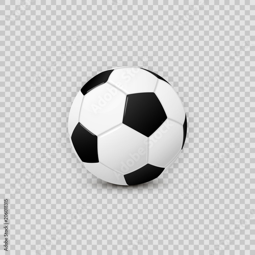 Fotografie, Obraz Realistic football soccer ball vector design element on transparent checkered ba