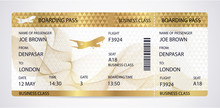Golden Boarding Pass (ticket, ...