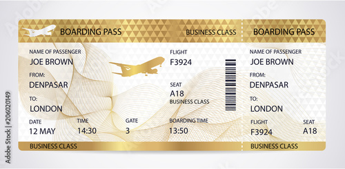 Fotografía  Golden Boarding pass (ticket, traveler check template) with aircraft (airplane or plane) silhouette on gold guilloche background