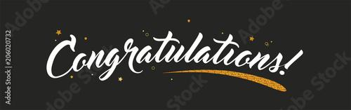 Congrats, Congratulations banner with glitter decoration Fototapeta