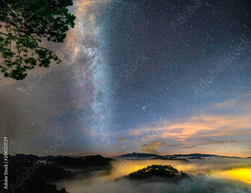 Melon Night landscape with the Milky Way in the sky at the rural highlands