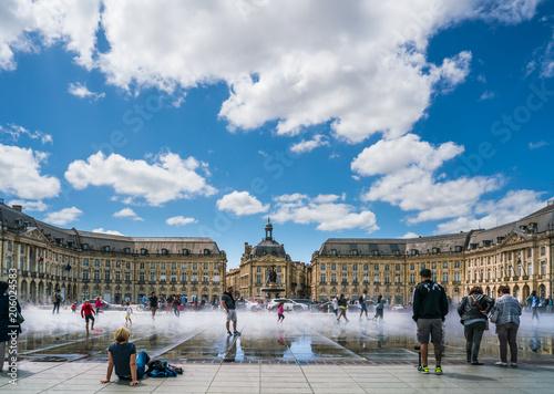Bordeaux, France, 10 may 2018 : Tourists visiting the Place de la Bourse seen fr Poster Mural XXL