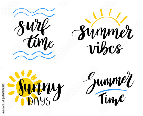 Set Of Hand Drawn Summer Theme Phrases Modern Lettering Quotes
