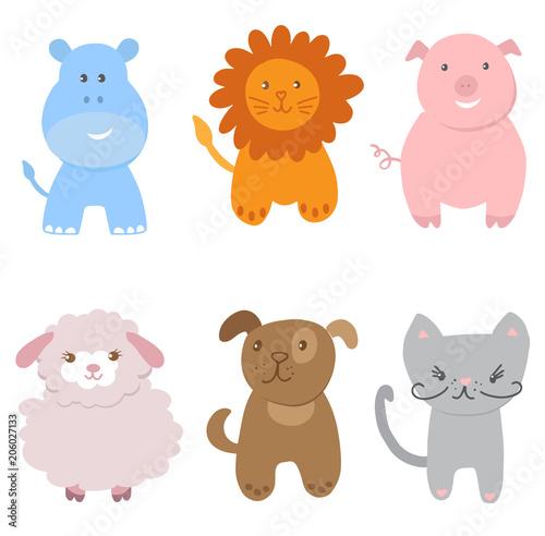 Cute Vector Set of Zoo Animals #206027133