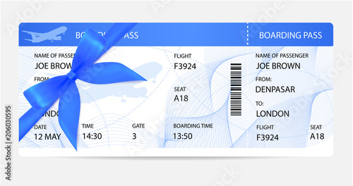 Boarding Pass Ticket Traveler Check Template With Gift Bow Aircraft Airplane